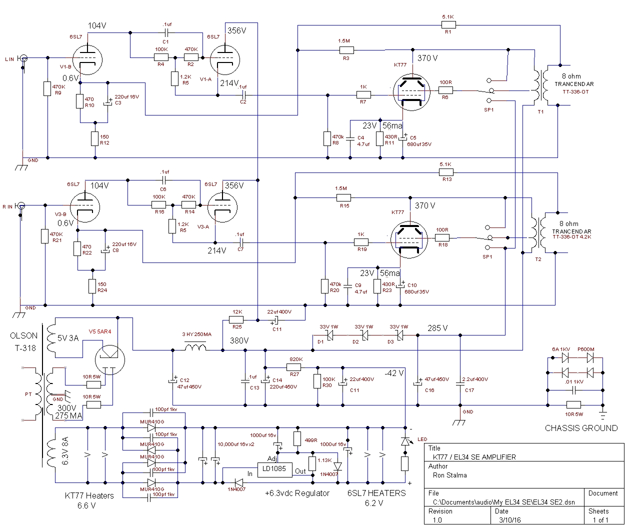 KT-77 Single Ended Stereo Schematic